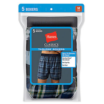 Hanes Classic Mens Yarn Dyed Exposed Waistband Boxer P5 798BP5