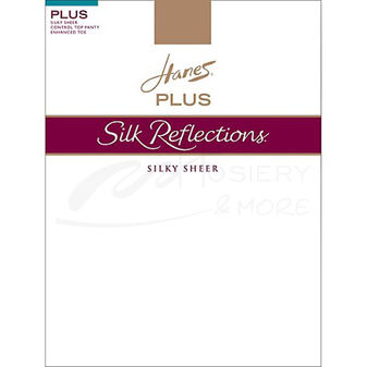 Hanes Silk Reflections Plus Size Sheer Control Top Enhanced Toe Pantyhose P16