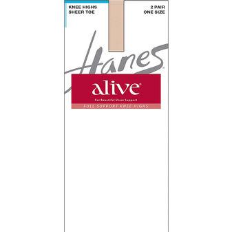Hanes Alive Full Support Sheer Knee Highs 2-Pack 0A446