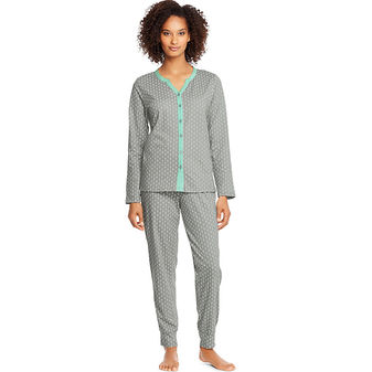 Hanes Women\'s Faux Button Front Top & Jogger Pants Sleep Set HAC80111