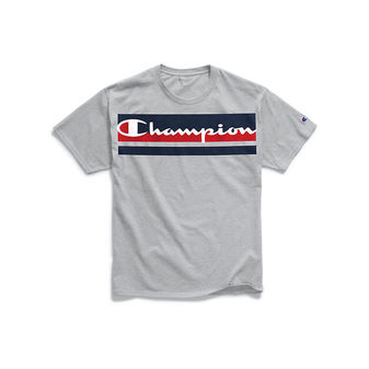 Champion Men\'s Classic Jersey Tee, Logo with Stripes