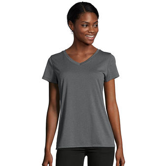 Hanes Sport™ Women\'s Heathered Performance V-Neck Tee O9032