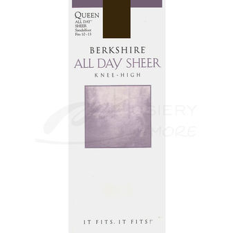 Berkshire Women\'s Plus-Size Queen All Day Knee High Sandalfoot Pantyhose 6351