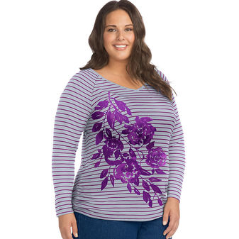 Just My Size Soft Flower Mix Long Sleeve Side Shirred Graphic Tee J37501