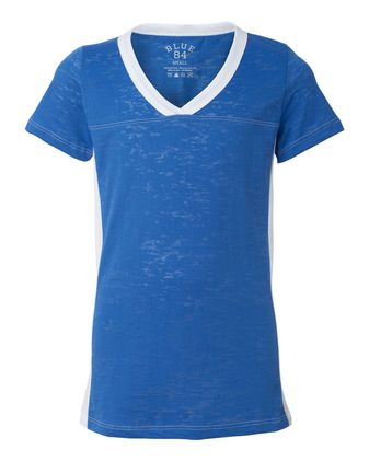 Blue 84 Juniors\' Burnout V-Neck Side Stripe T-Shirt JBSS