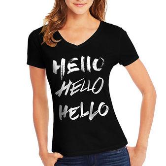 Hanes Women\'s Hello Hello Hello Short-Sleeve V-Neck Graphic Tee GT9337 Y07648