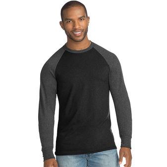Hanes Big Men\'s X-Temp w/Fresh IQ Crewneck Long Sleeve Colorblock T-Shirt 2X-3X 5A19