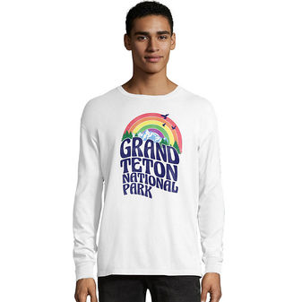 Hanes Men\'s ComfortWash Grand Teton Retro Rainbow National Park Long Sleeve Tee