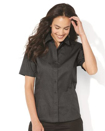 FeatherLite Women\'s Short Sleeve Stain-Resistant Tapered Twill Shirt 5281
