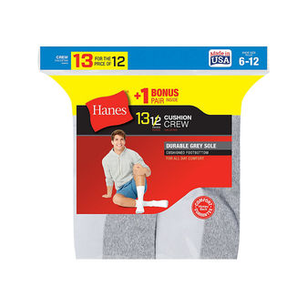Hanes Mens Cushion Crew Socks 13-Pack 184V13