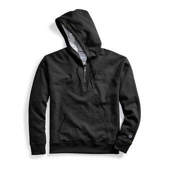 Champion Men\'s Powerblend Fleece Quarter Zip Hoodie, Embroidered Logo