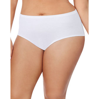 Just My Size Cotton TAGLESS Brief Panties 5-Pack, Basic Assortment 1610W5