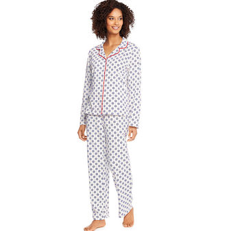 Hanes Womens Knit Notched Collar Pajama Set-Plus Size HAC80116X