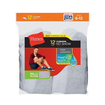 Hanes Men\'s No-Show Socks 12-Pack 190V12