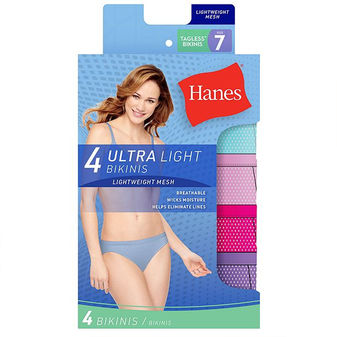 Hanes Women\'s Ultra Light Bikini 4-Pack UL42AS