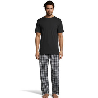 Hanes Men\'s Sleep Set with Woven Knit Pants 03015