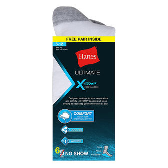 Hanes Ultimate X-Temp Men\'s No-Show White Socks 6-Pack U20/6