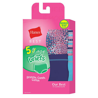 Hanes Best Girls\' Soft and Cool Briefs 5-Pack GHBBR5