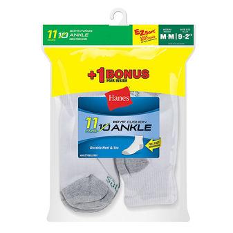 Hanes EZ-Sort® Boys\' Ankle Socks 11-Pack (Includes 1 Free Bonus Pair) 422/11