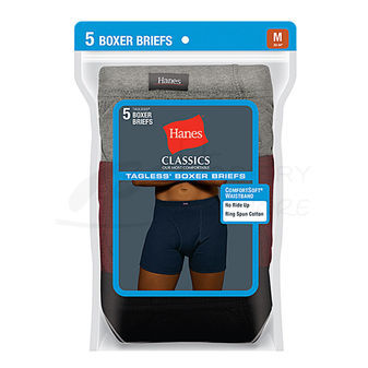Hanes Classics Mens Dyed Boxer Briefs with ComfortSoft Waistband 5-Pk 769CP5