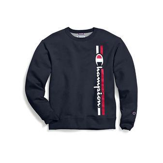 Champion Men\'s Powerblend Fleece Crew, Vertical Logo