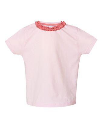Rabbit Skins Toddler Girls\' Ruffle Neck Fine Jersey Tee 3329