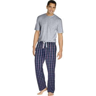 Hanes Men\'s Sleep Set with Woven Knit Pants 03015