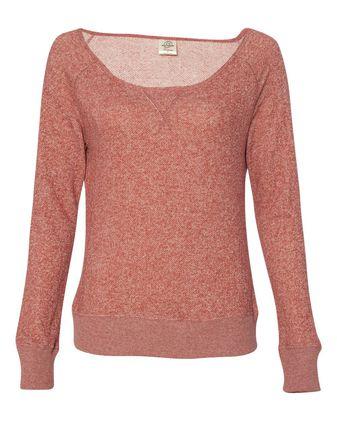 Independent Trading Co. Juniors\' Wide Neck Sweaterfleece Crew PRM2400