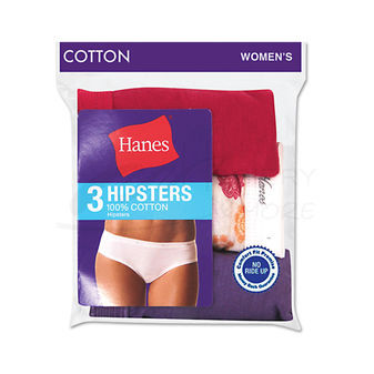 Hanes Womens Cotton Hipsters 3-Pk D41LAS