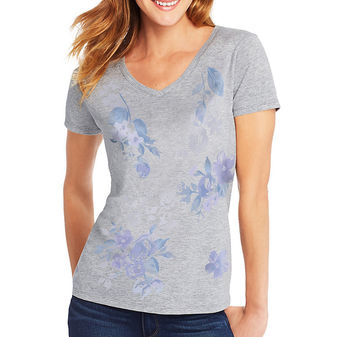 Hanes Women\'s Floral Message Short-Sleeve V-Neck Graphic Tee GT9337 Y07645