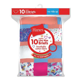 Hanes Girls Tagless Low Rise Briefs 10-Pack GP10LR