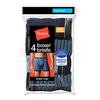 Hanes Mens Ringer Boxer Brief with Comfort Flex Waistband 4-Pk 7347P4