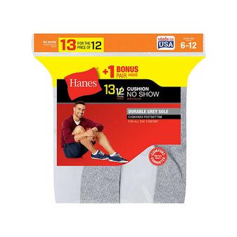 Hanes Mens Cushion No-Show Socks 13-Pack 190V13