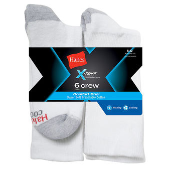 Hanes Mens X-Temp Comfort Cool Crew Sock 6-Pk CC18/6