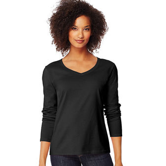 Hanes Women\'s Long-Sleeve V-Neck T-Shirt O9142