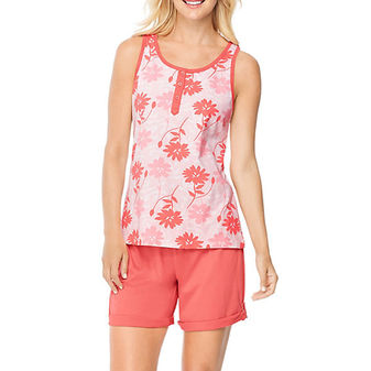 Hanes Ultimate Womens Henley Tank / Shorts Sleep Set 28998