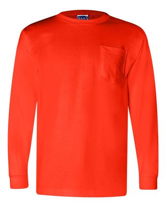 Bayside Union-Made Long Sleeve T-Shirt with a Pocket 3055