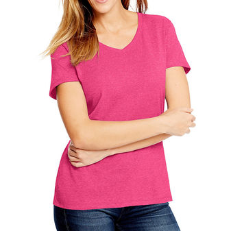 Hanes Women\'s X-Temp w/Fresh IQ Tri-Blend Performance V-Neck Tee Shirt 42VT
