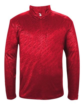 Badger Line Embossed Quarter-Zip Long Sleeve T-Shirt 4134