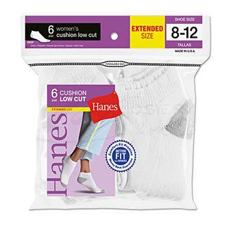 Hanes Womens Low Cut Cushion Socks 6-Pk (Shoe Size 8-12) 680/6P