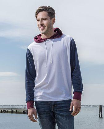 MV Sport Dean Peached Jersey Colorblocked Hooded Long Sleeve T-Shirt 20457