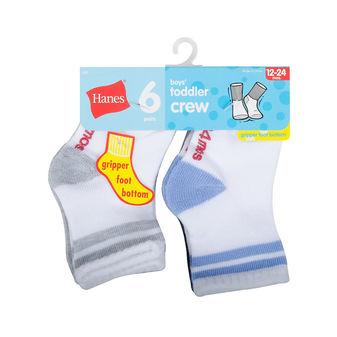 Hanes Infant/Toddler Boys\' Crew Socks 6-Pack 26T6