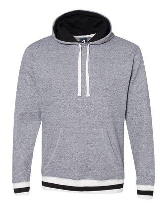 J. America Peppered Fleece Lapover Hooded Sweatshirt 8701
