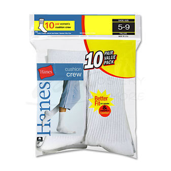Hanes Cushioned Womens Crew Athletic Socks 10-Pk 683/10