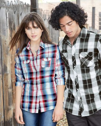 Burnside Women\'s Long Sleeve Plaid Shirt 5222