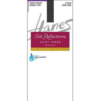 Hanes Silk Reflections Silky Sheer No-Slip Band Knee Highs with Run Resistant Technology 2-Pair Pack 0A990