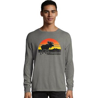 Hanes Men\'s ComfortWash Yellowstone Retro Moose National Park Long Sleeve Tee