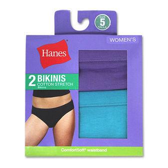Hanes Women\'s Cotton Stretch Bikinis 2-Pack D42EAS