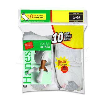 Hanes Cushioned Womens Ankle Athletic Socks 10-Pk 681/10