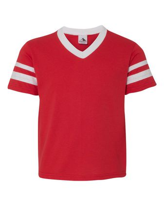 Augusta Sportswear Youth V-Neck Jersey with Striped Sleeves 361
